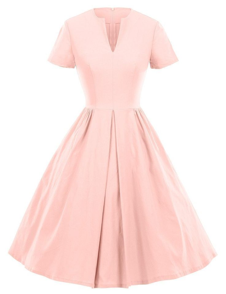 Amazon.com: GownTown 1950s Vintage Dresses V-neck Short-sleeves Dresses Swing Stretchy Dresses: Clothing