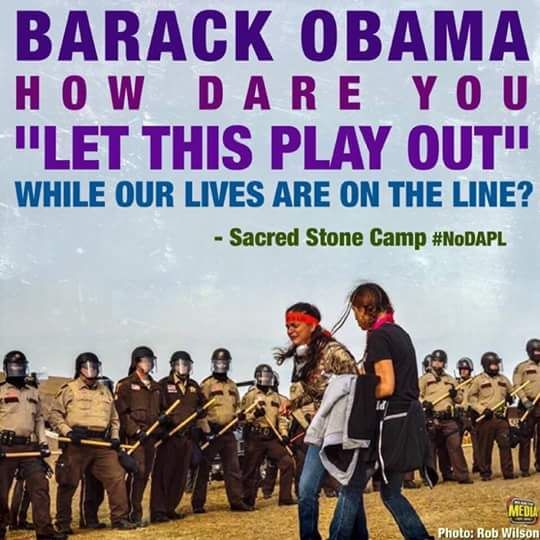While campaigning, Obama said that he supported Native Americans, just like he said he would walk the picket lines with workers. Once elected, he has remained silent while Native Americans have atrocities committed against them, like being sprayed with water cannons in freezing temperatures.