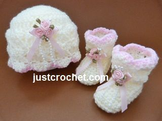 Free baby crochet pattern beanie and booties usa ~ cute beanie & booties for your little Princess ~ FREE - CROCHET