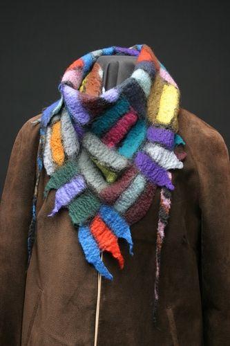 wool colors Nuno felted on black silk chiffon