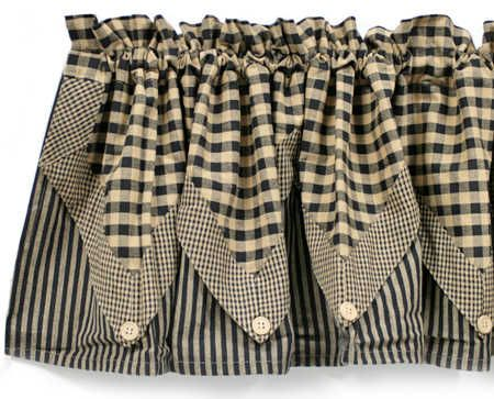 Black checked and striped five point valance curtain is made from 100% preshrunk cotton homespun fabric.