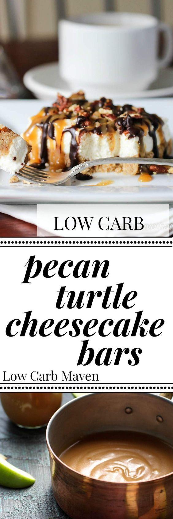 Pecan Turtle Cheesecake Bars are sugar free & keto