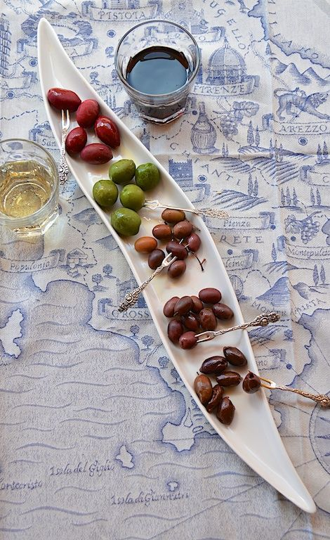 ~From top to bottom, the lineup of our Italian olives: Red Cerignola from Puglia, Italy, Green Cerignola from Puglia, Italy, Taggiasca from Liguria, Italy, Gaeta from Gaeta, Italy and Kalamata from Sicily!