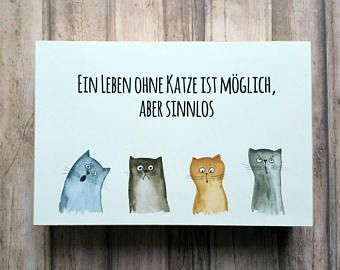 Cat photo cube, Cat poster, cat typography poster, photo block, bookshelf decor, cat illustration, kitchen decor, german text, german quote