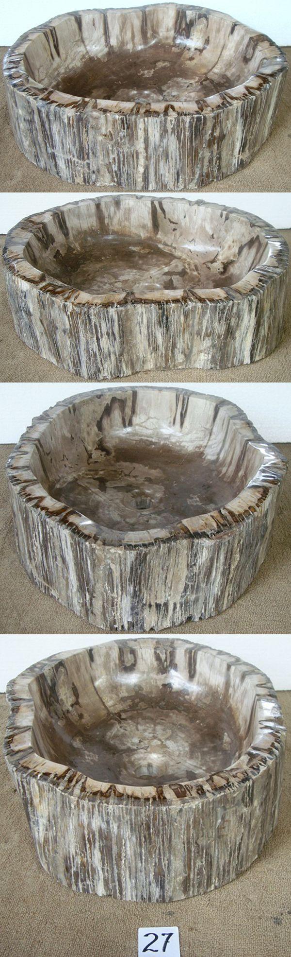 Petrified Wood Sink #27-EH Petrified Zebra Wood (21