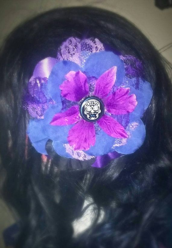 Hey, I found this really awesome Etsy listing at https://www.etsy.com/listing/259529363/large-rockabilly-blue-purple-sugar-skull