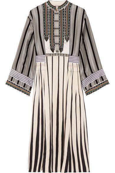 Etro - Flocked Embellished Silk-jacquard Midi Dress - Ivory - IT44