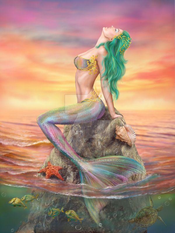 Beautiful fantasy Mermaid At Sunset by AlenaLazareva