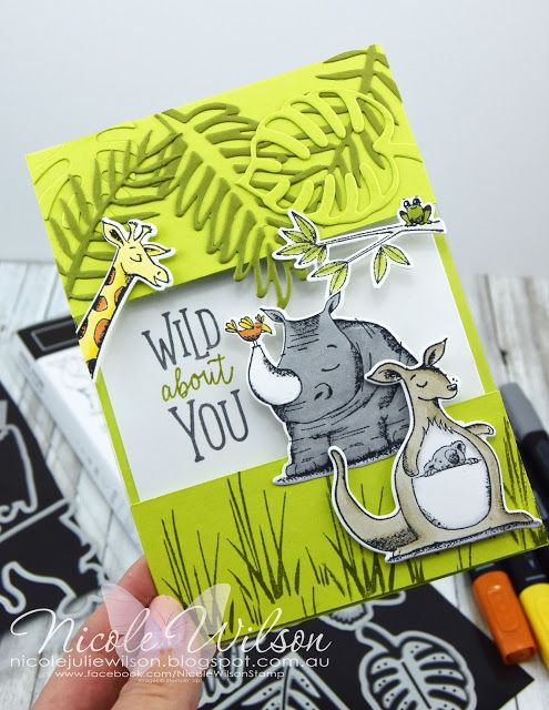 Nicole Wilson Independent Stampin' Up!® Demonstrator. Animal Outing Wild about You Card, Tropical Thinlits and Animal Friends Thinlits #stampinup #onstage #onstage18 #stampinup30 #nicolewilsonstamp #animalouting #jungle #kangaroo #koala #rhino