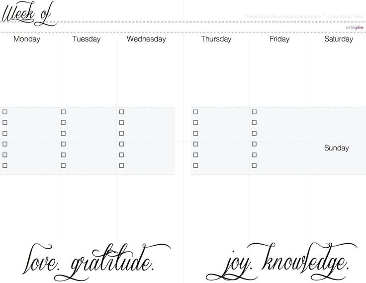 Free Weekly Vertical Planner, Week on two page insert
