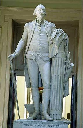 George Washington statue, marble                            by Jean-Antoine Houdon. It stands in the State Capitol at Richmond, Virginia.