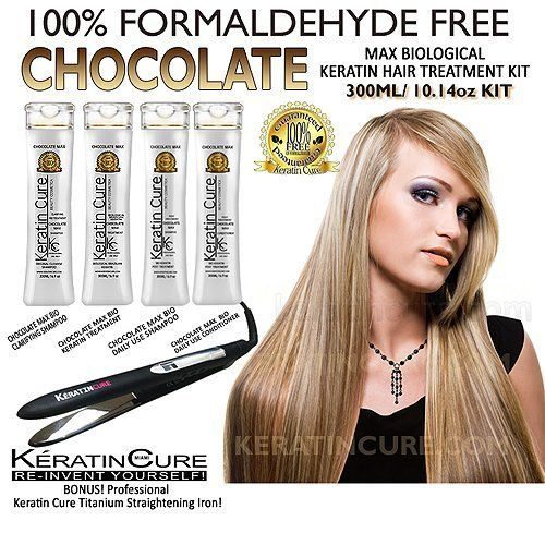 KERATIN CURE CHOCOLATE MAX BIOLOGICAL HAIR TREATMENT KIT WITH TITANIUM DUAL VOLTAGE IRON by KERATIN CURE COMPLETE KIT. $233.99. Brazilian Straightening technology system. contains Theobroma Cacao Seed Butter extract creating a natural form of protective barrier that prevents dryness and loss of hydration dashed with a delicious chocolate fragrance.. contains cocoa extract best for hydrating, repairing and adding natural moisture and makes hair soft and manageable.. F...