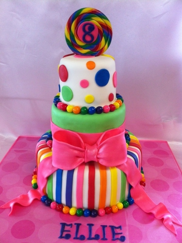 Colorful birthday cake stripes polka dots and bow for Dots and stripes party theme