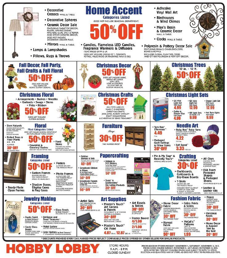 Hobby Lobby Weekly Ad November 8 - 14, 2015 - http://www.olcatalog.com/grocery/hobby-lobby-weekly-ad.html