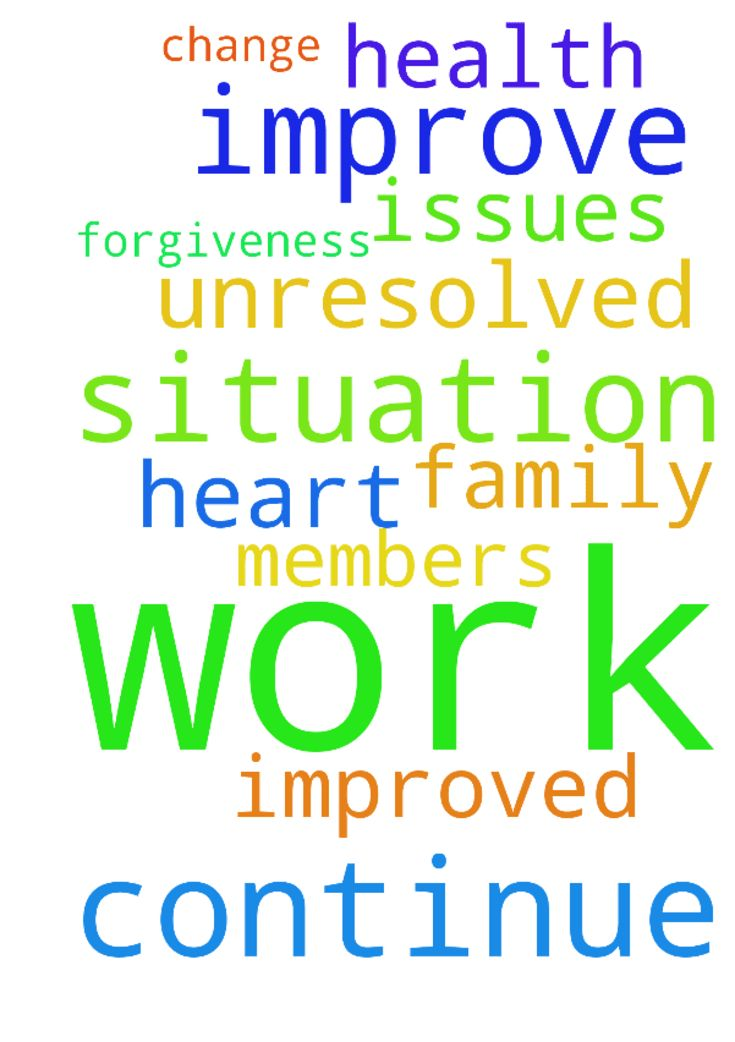 Prayers for work situation to continue to improve. - Prayers for work situation to continue to improve. Prayers for forgiveness and unresolved issues in my heart to change. Please pray for improved health for family members. Thank you. Posted at: https://prayerrequest.com/t/DdB #pray #prayer #request #prayerrequest