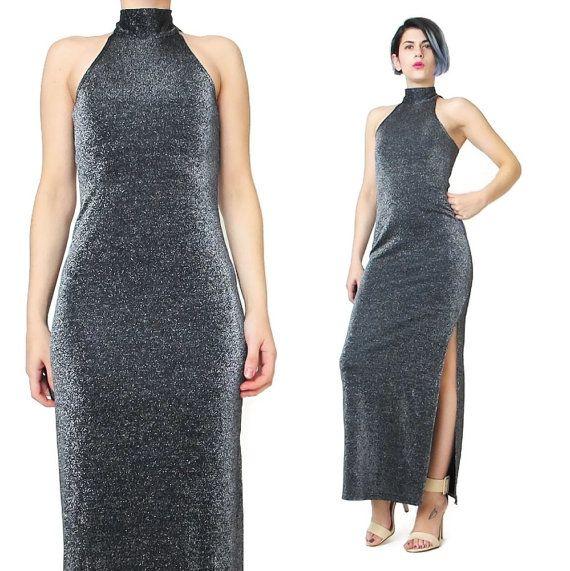 90s Silver Lurex Dress Metallic Silver Maxi Dress by honeymoonmuse