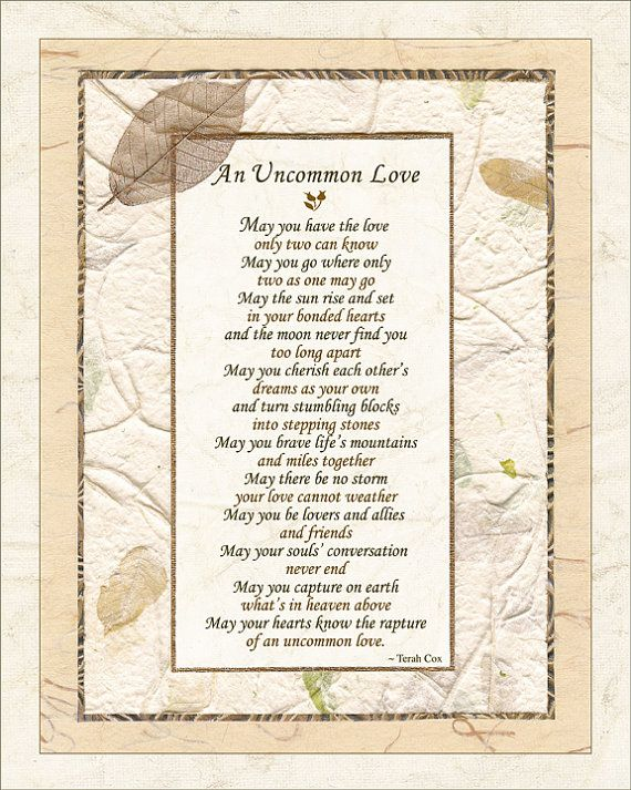 "Wedding Poem - ""UNCOMMON LOVE"" (8x10 - Wedding, Commitment, Anniversary)   https://twitter.com/NeilVenketramen"