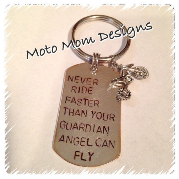 Motocross Keychain Never Ride Faster than Your Guardian Angel Can Fly on Etsy, $10.00