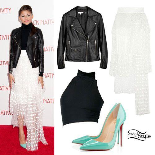 Zendaya: Dot Tiered Skirt, Mint Pumps - Style Steal