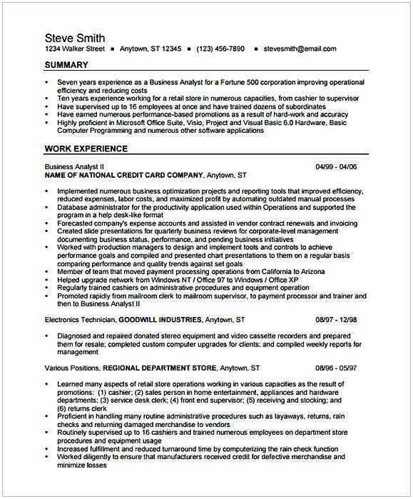 Business Analyst Resume Summary.Business Analyst Resume Format 1 Entry Level Business