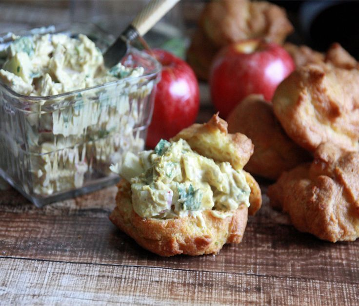 Chicken Curry Puffs: curry puffs stuffed with apple and chicken salad.