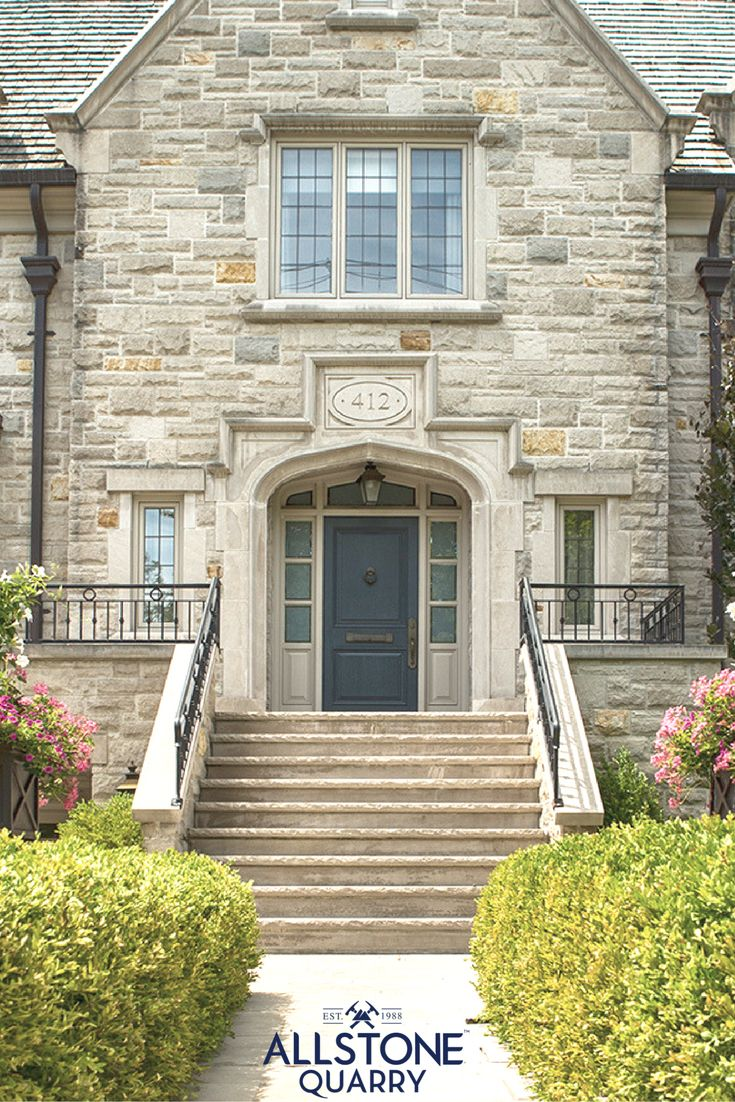 Allstone custom home in the Forest Hill community in Toronto. We used variegated limestone, indiana limestone and buff limestone.