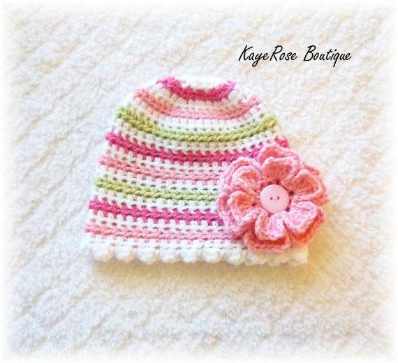 Baby Girl Crochet Flower Hat Pink
