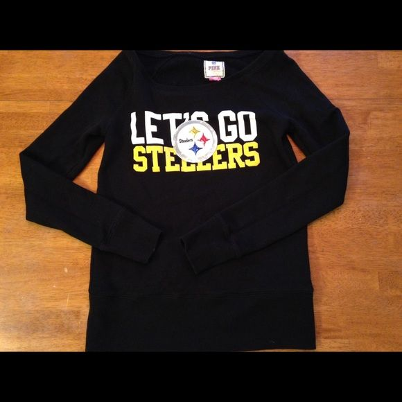 PINK Victoria's Secret Steelers sweatshirt. A Steelers sweatshirt from PINK Victoria's Secret.  LOVE PINK is on the back of the sweatshirt.  Go Steelers! PINK Victoria's Secret Tops Sweatshirts & Hoodies