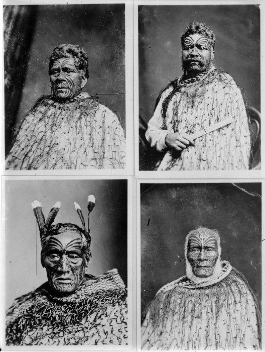 Portraits of Haami te Hau Nuhaka, Ihaka Whaanga and two unidentified Maori men