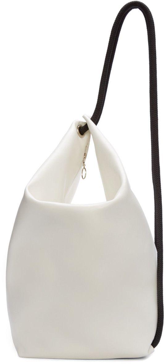 MM6 Maison Margiela White & Black Leather Rope Backpack | @andwhatelse