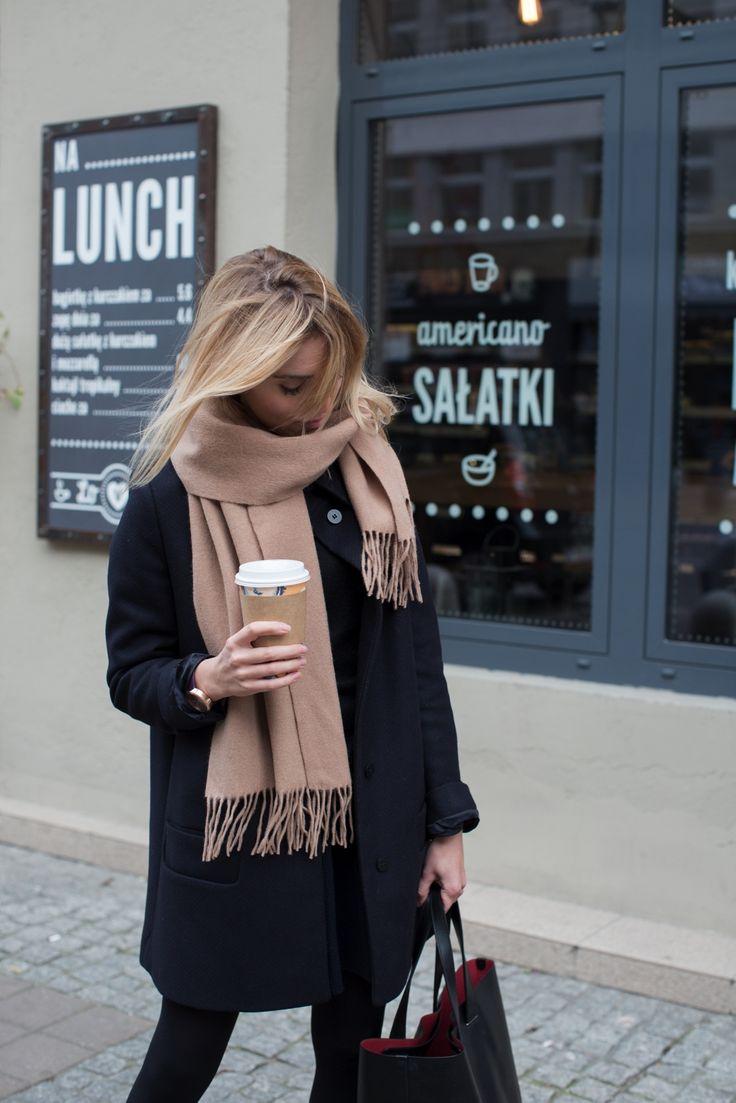 Minimal style - black coat and camel scarf