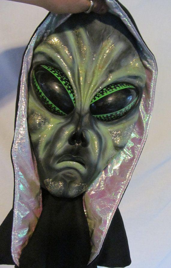 green big slanty eye alien mask halloween mask scary halloween costume mask full face - Alien Halloween Masks