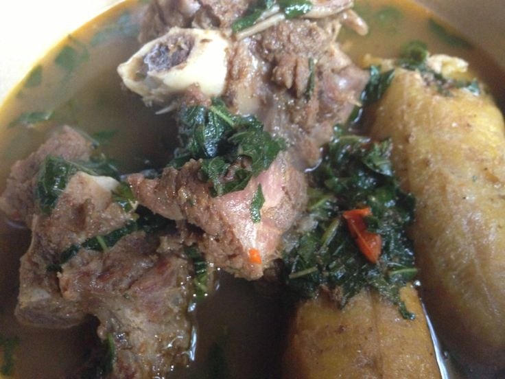 Goat Meat Pepper Soup with Boiled Plantain