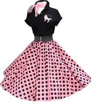 "#844 Shocking Pink/black polka dots black polo outfit. <br> Skirts are pre-made with waist 32"" and length 27"", order alteration if different from this measurements."