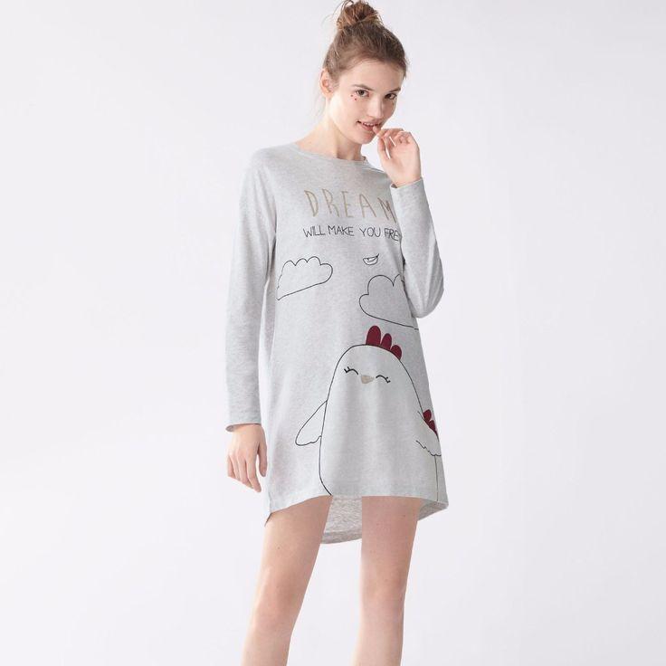 Mujeres de la manera perro pollo cartton ropa de Dormir Pijamas Trajes de Algodón de Manga Larga de Las Señoras Lindo Camisón Púrpura Pijamas Bottoms set