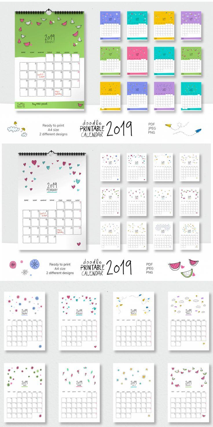2019 Doodle Printable Calendar Planejadores Planejador Mensal