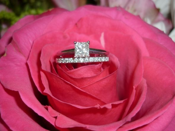 Great Princess cut solitaire engagement ring with pave wedding band beautiful u simple