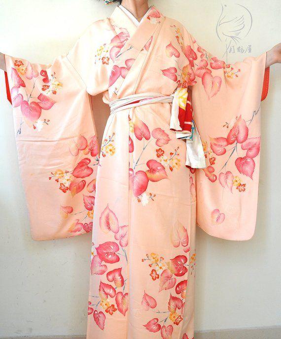 843ae9e6f Japanese pink silk long kimono robe. Vintage authentic botanic floral maxi  kimono gown. Women's duster coat. Silk long robe. Loungewear.
