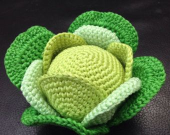 Crocheted Amigurumi Play or Display Cabbage