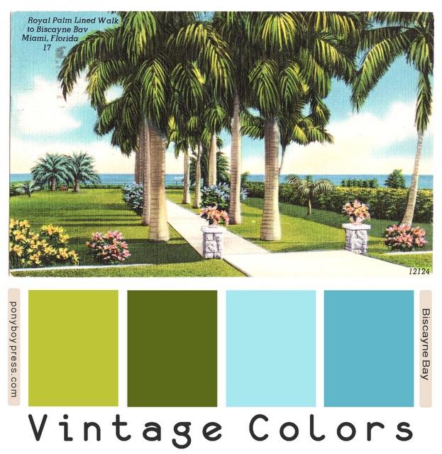 Vintage Color Palettes: biscayne bay - go to blog post for Hex color numbers