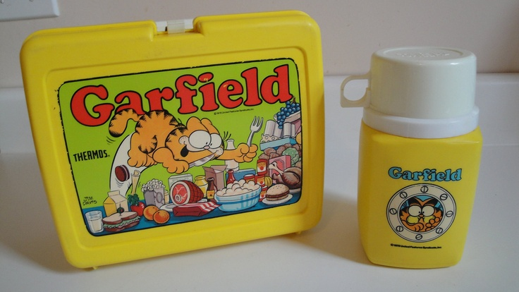 1970s Vintage Garfield Lunch Box  & Thermos Yellow Plastic. via Etsy.