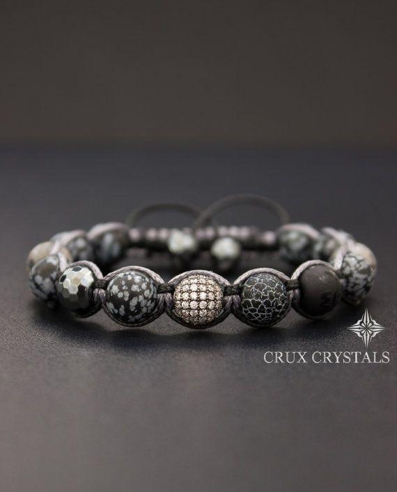 Snowflake Obsidian Mens Bracelet Gemstone Beaded door CruxCrystals