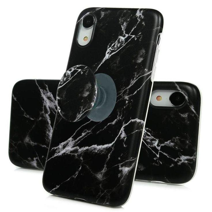 Coque marbre noir avec support à l'arrière pour iPhone Xr