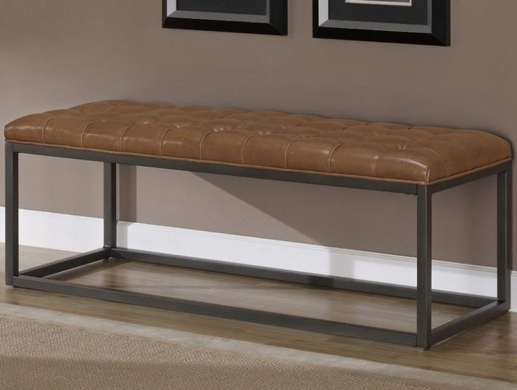 Saddle Brown Bonded Leather And Metal Bench Entryway Furniture #bench