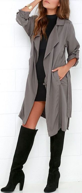 Trench coats are definitely in this fall, but I especially love this look because of the knee high boots! Perfect for us coast to coast gals.