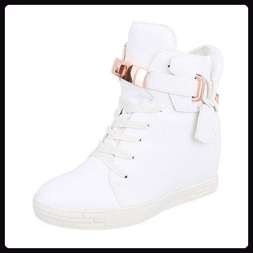 High-Top Sneaker Damen-Schuhe High-Top Keilabsatz/ Wedge Keilabsatz Reißverschluss Ital-Design Freizeitschuhe Weiß, Gr 40, H719-1- - Sneakers für frauen (*Partner-Link)