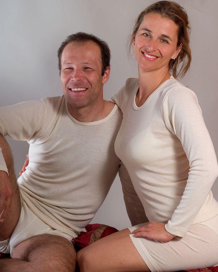 Damen Unterhemd langarm für Damen und Herren aus Merinowolle