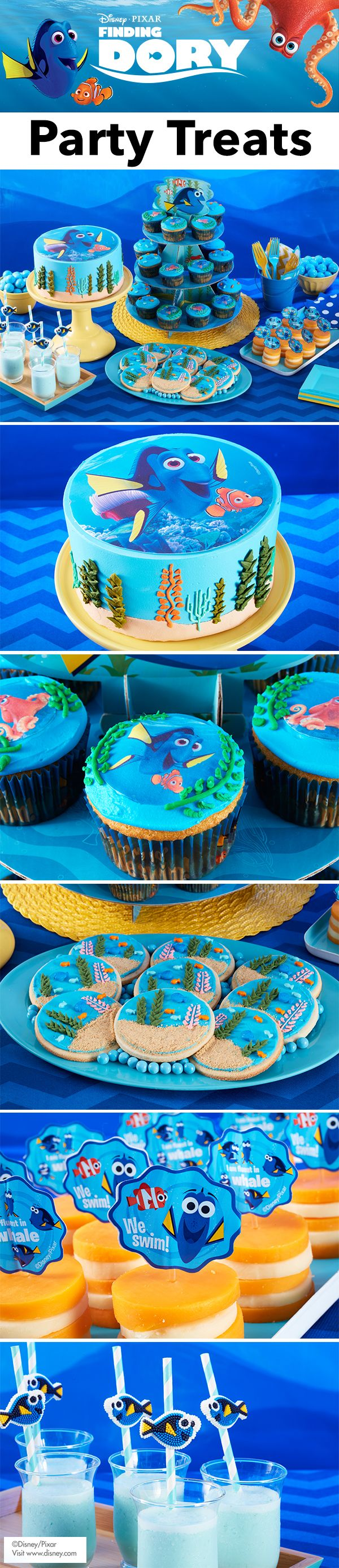 Finding Dory Party Treats - Create easy DIY Finding Dory cake, cupcakes, cookies, cheese bites, and smoothie for a fun, ocean adventure or under the sea themed party! Kids will have fun seeing their favorite Finding Dory characters.