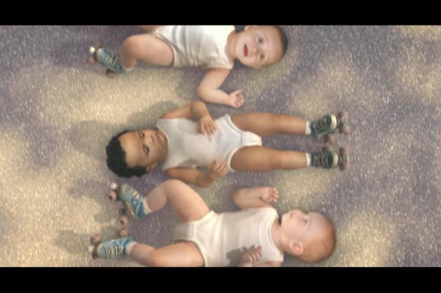 "Evian - Roller Babies campaign by Vincent Vella. - June 2009 : An international online remix competition of ""Rappers Delight"" launched the campaign, followed by 2 viral teasers 'Baby Moonwalk' and 'Baby Breakdance', posted on YouTube and blogs across the world."