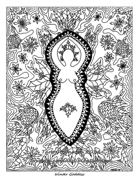 Goddess Art Yule Art Coloring Page Winter Solstice Pagan Art Divine Feminine Winter Goddess Mandala Coloring Page Sacred Feminine Wicca Art In 2020 Mandala Coloring Pages Witch Coloring Pages Coloring Pages